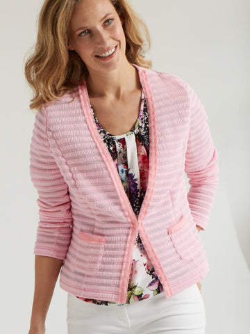 Frank Walder Pale Pink Ribbed Edge to Edge Cardigan Jacket