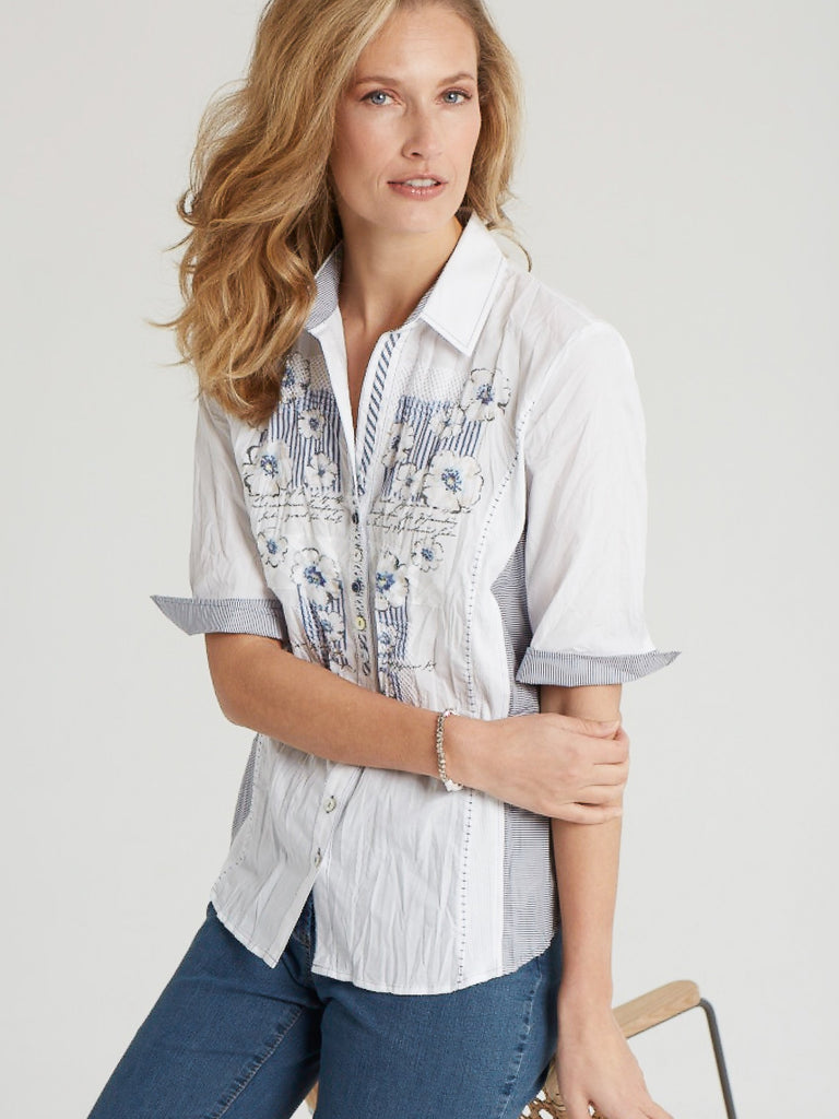 90d706e4 Just White White/Blue Stripe and Appliqué Front Short Sleeve Blouse – Chesca