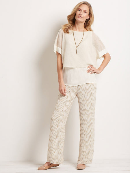 Conrad C Ecru Printed Silk Feel Trouser