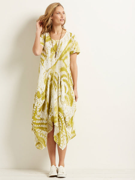 White/Apple Printed Drape Short Sleeve Dress