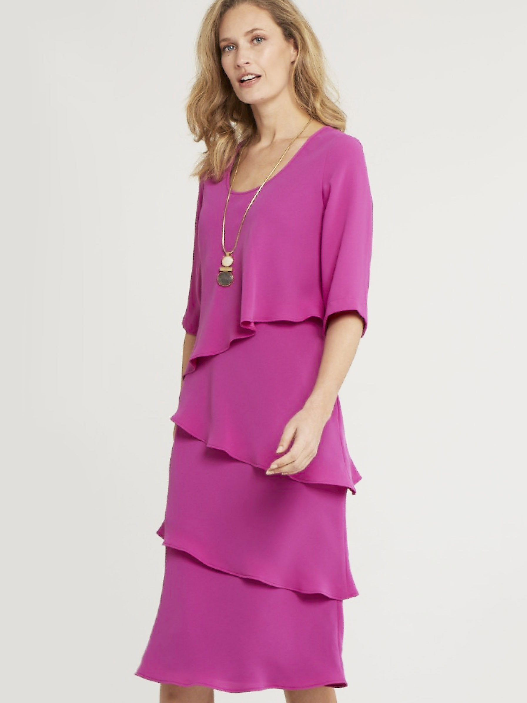 Magenta Multi Layered Crepe Dress