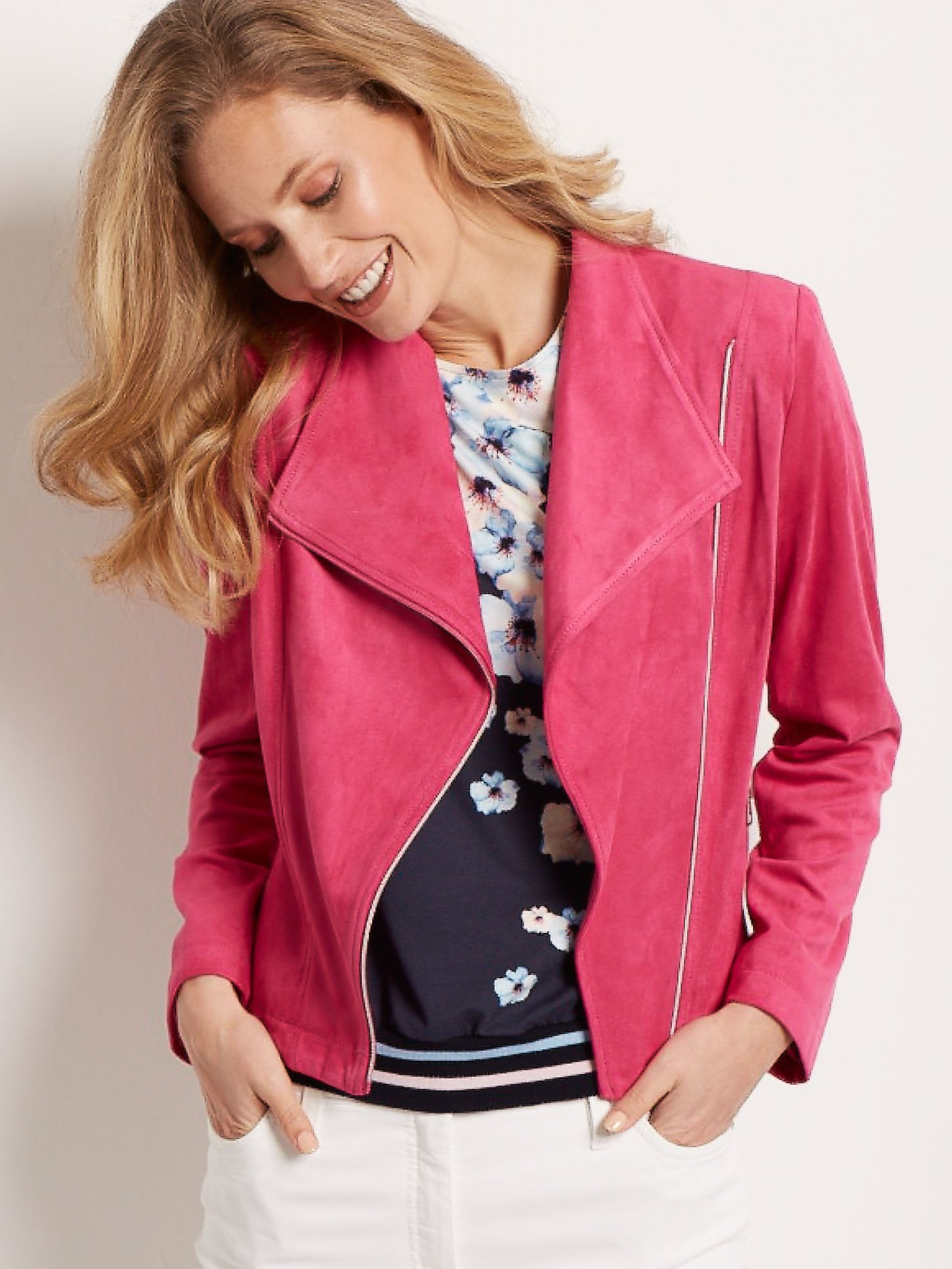 Betty Barclay Pink Fuchsia Faux Suede Biker Jacket