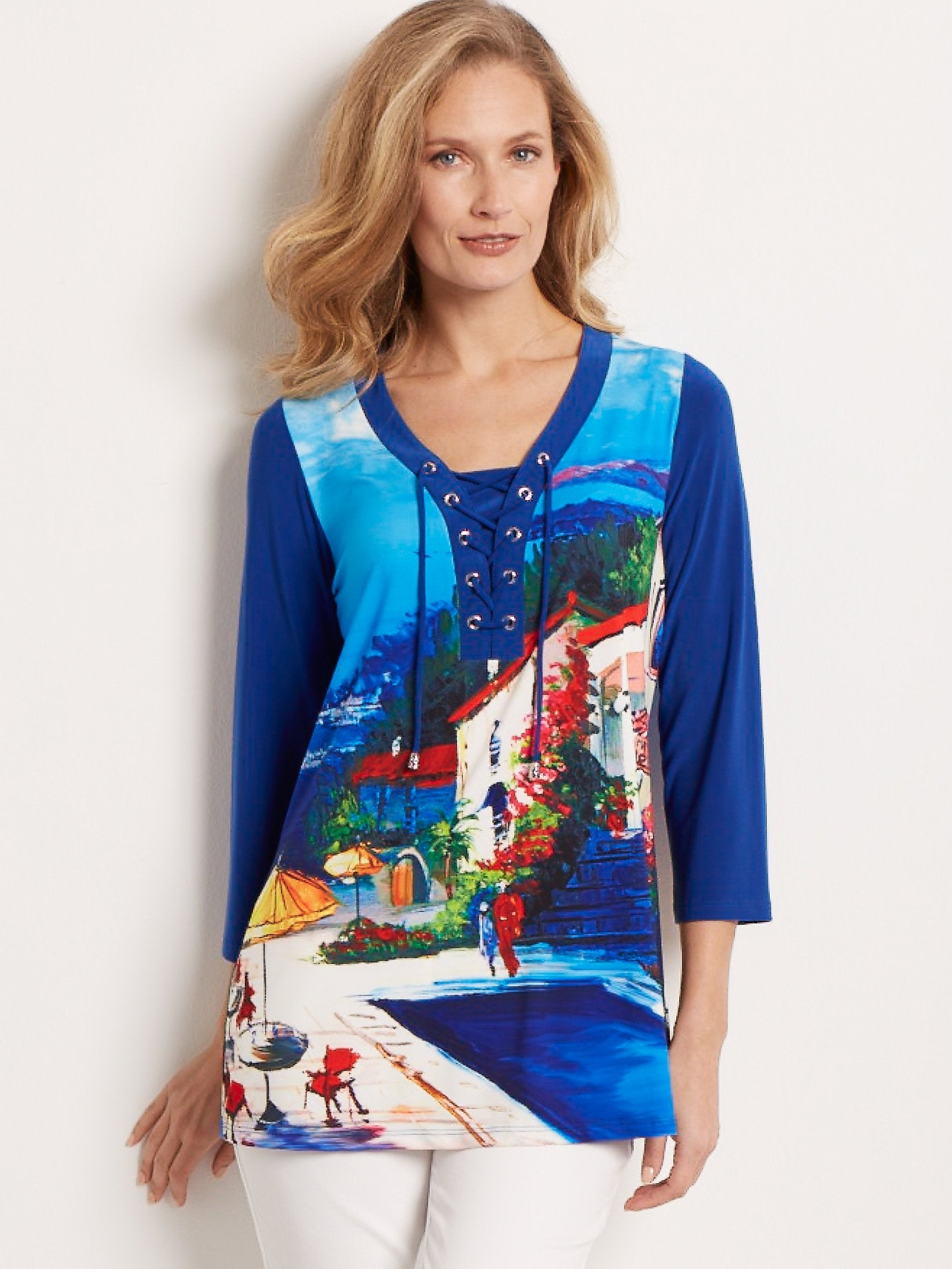 Joseph Ribkoff Blue Holiday Printed Tunic