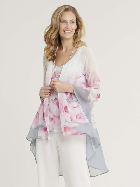 Dove Grey/Rose Pink/Ivory Garland Print Chiffon Coat