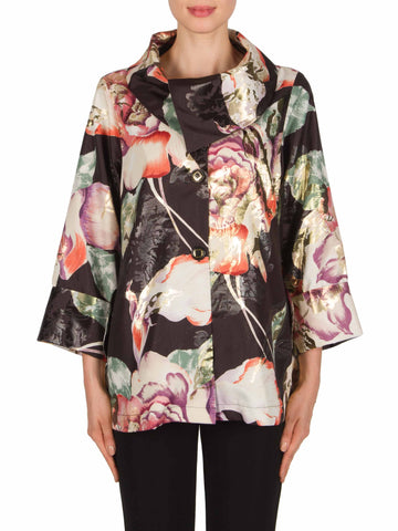 Joseph Ribkoff Black/Rose Jacquard Large Flower Design Single Button Jacket