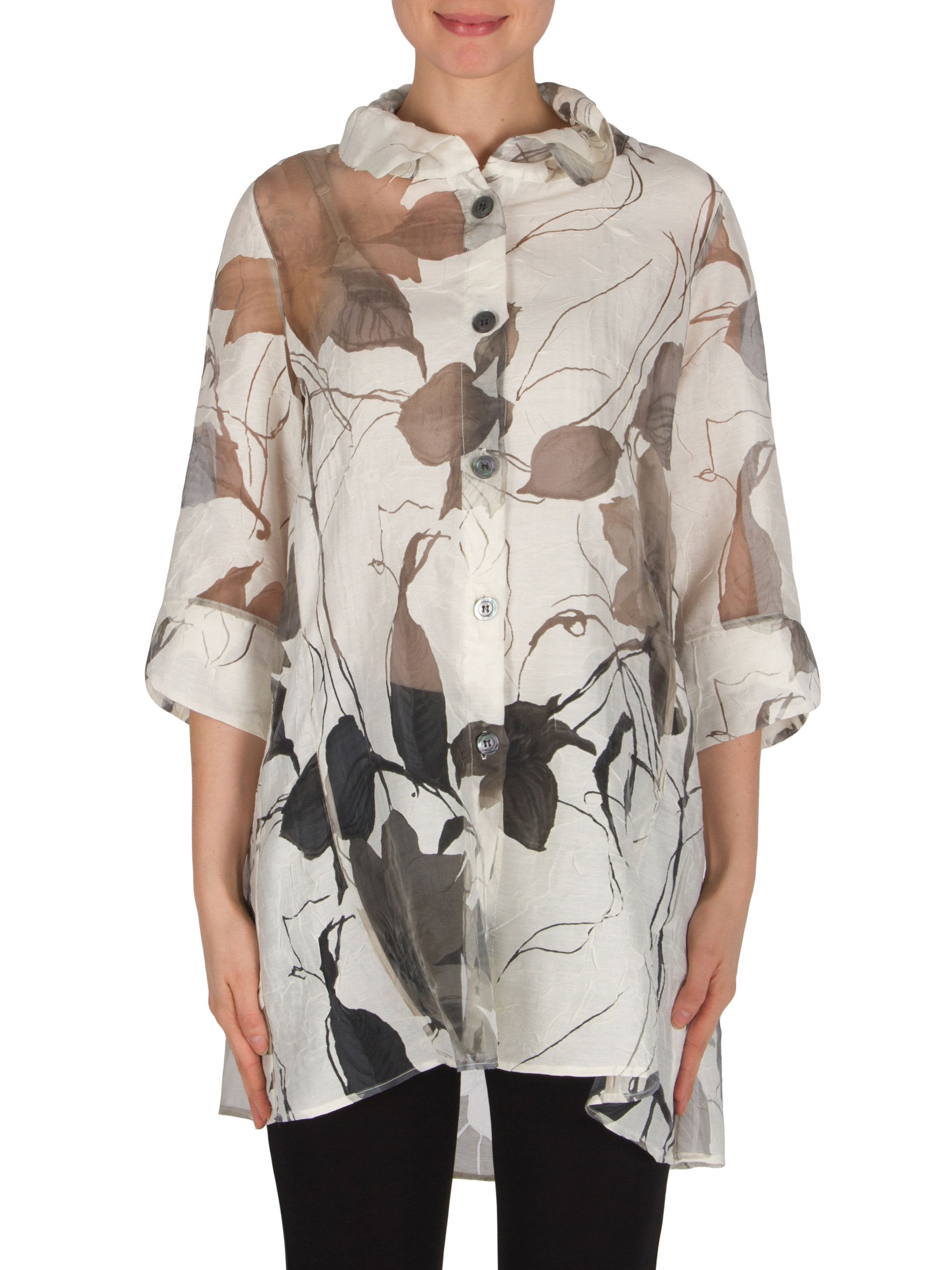 Joseph Ribkoff White/Black Leaf Design Burnout Overblouse