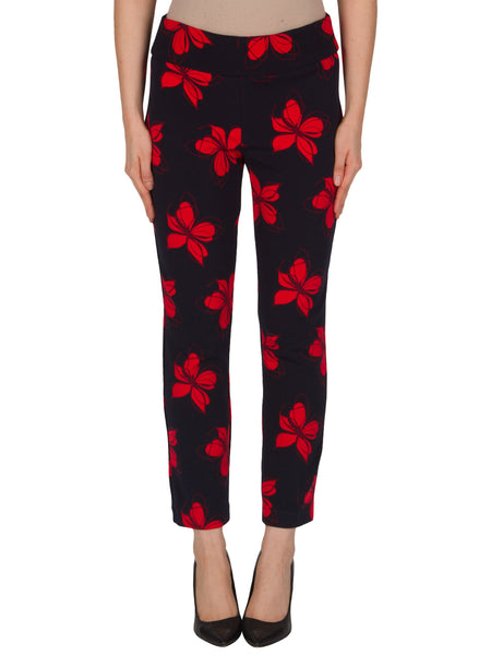 Joseph Ribkoff Navy/Red Flower Print Trouser