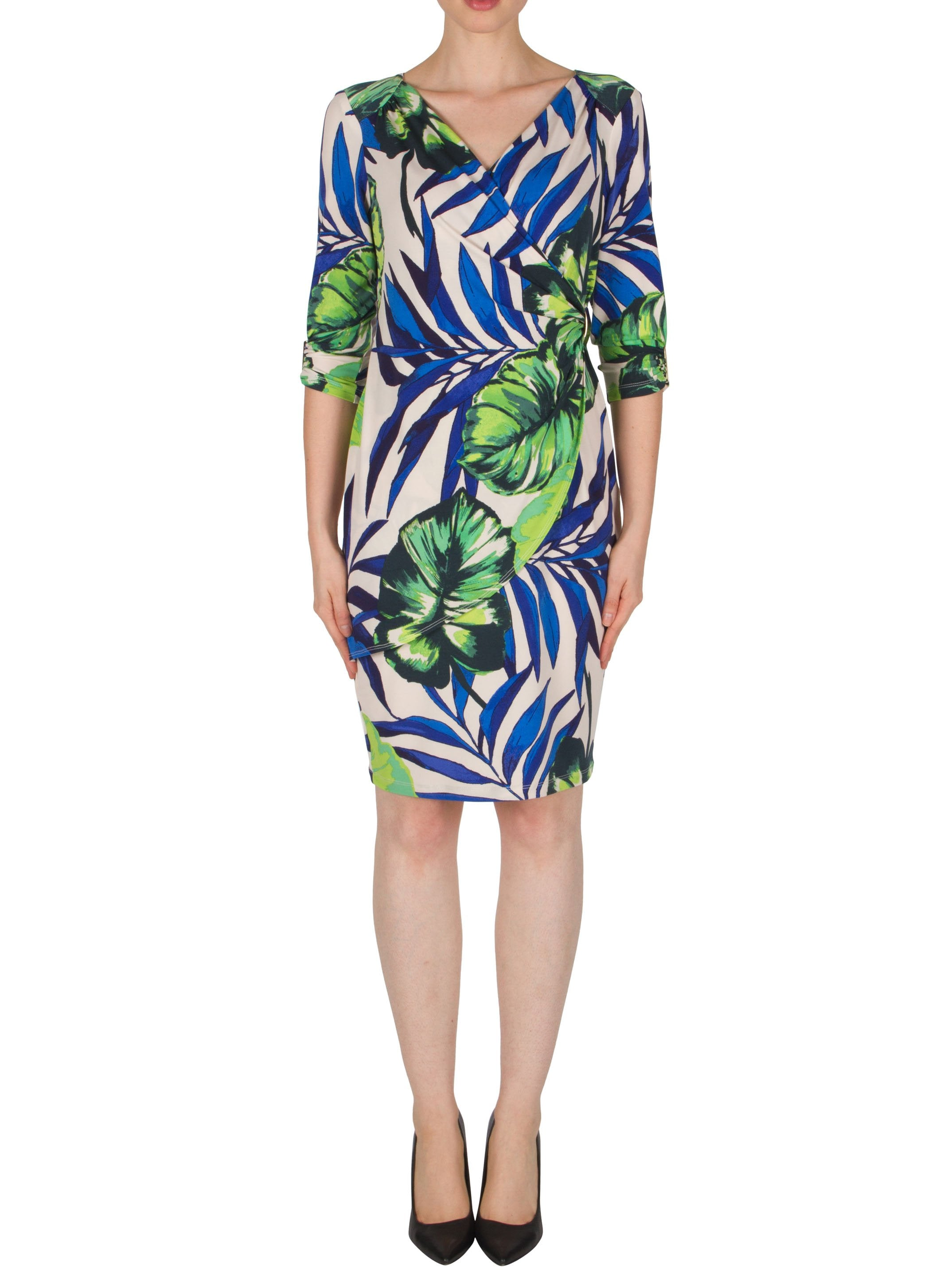 Joseph Ribkoff Cream/Blue/Green Tropical Leaf Print Wrap Dress
