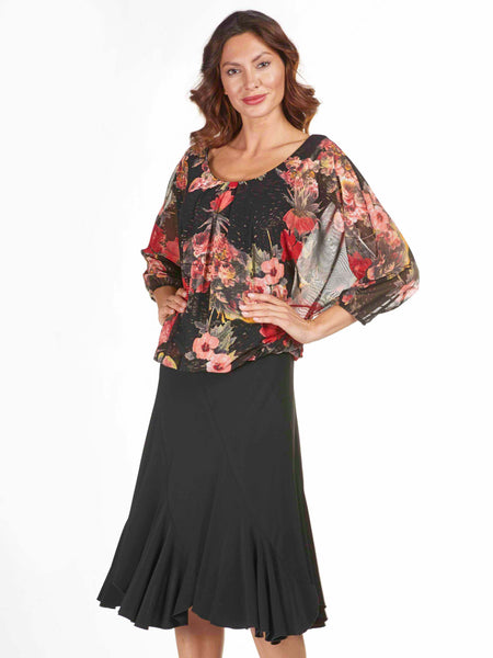 Frank Lyman Black Panelled Bias Skirt