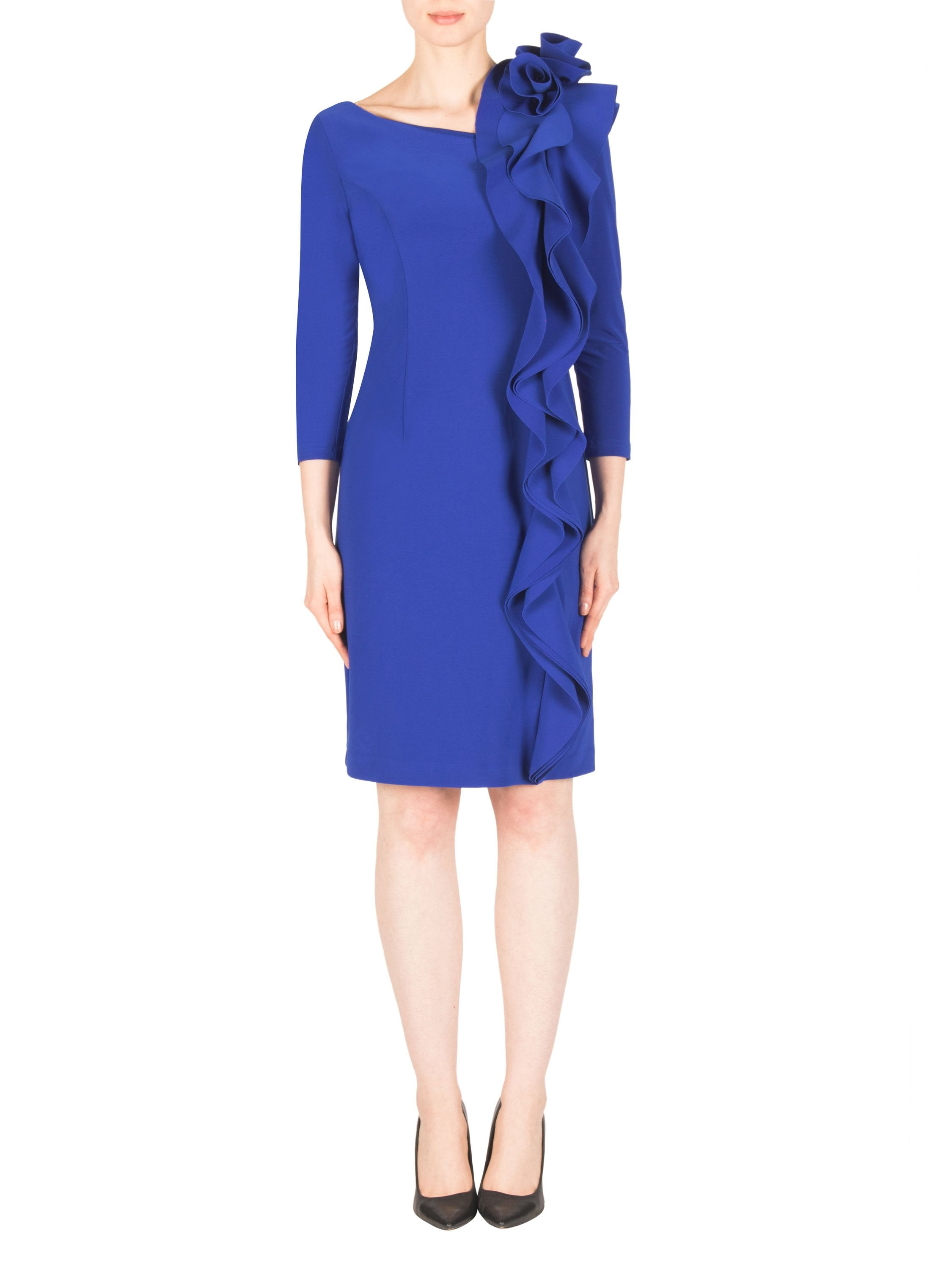 Joseph Ribkoff Cobalt Blue Shift Dress With Rosette On Shoulder