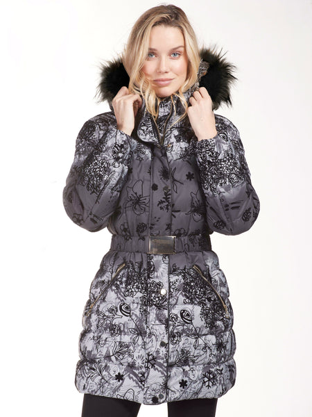 Frank Lyman Black/Grey Shaded And Flocked Padded Coat