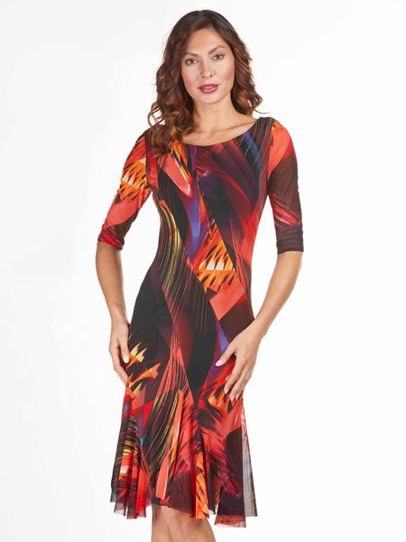 Frank Lyman Red/Black Multi Print Mesh Dress