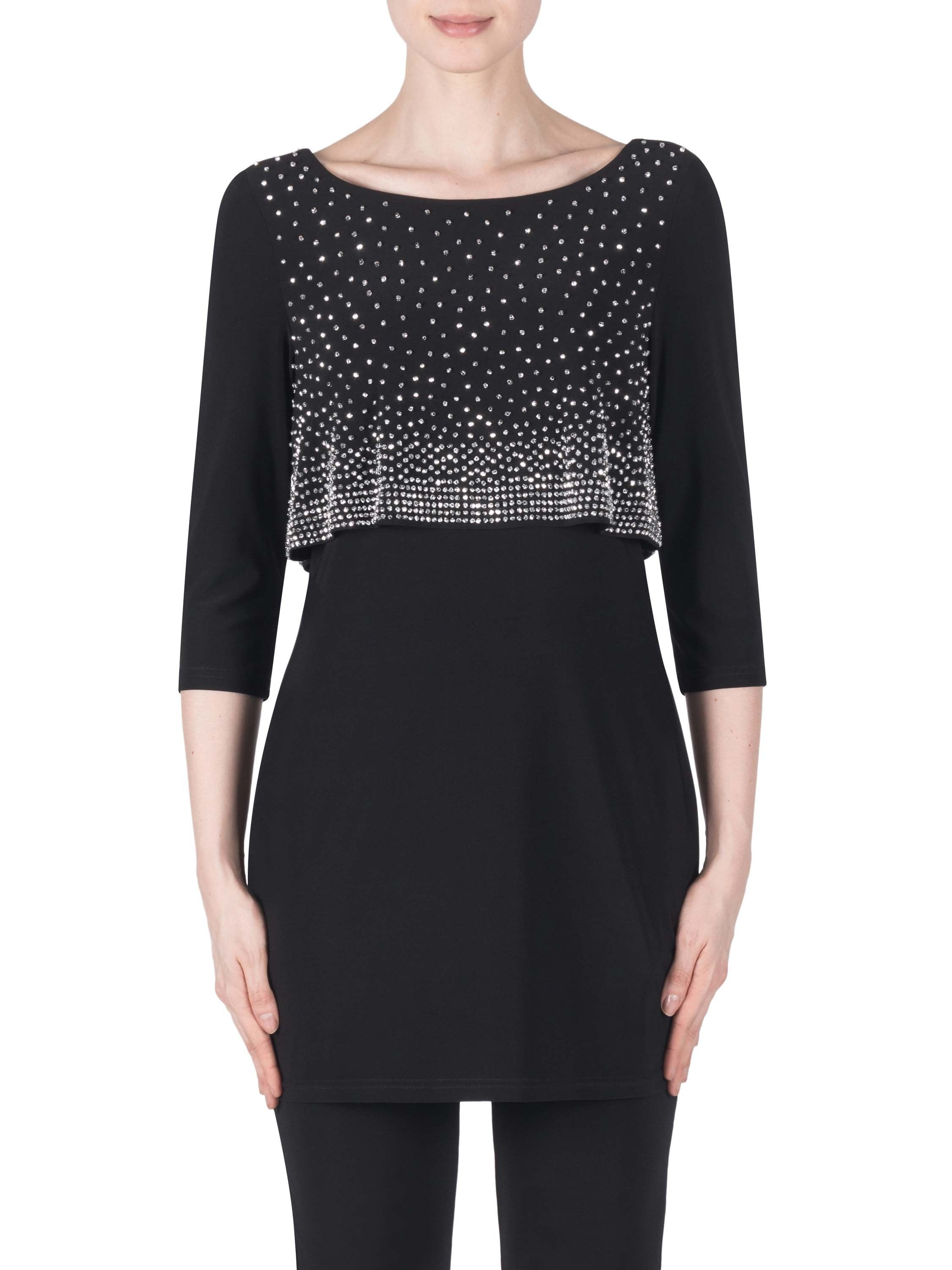 Joseph Ribkoff Black Tunic With Diamante Studded Bodice