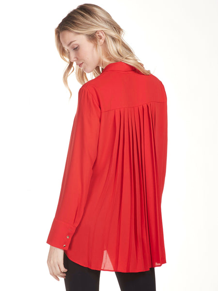 Frank Lyman Red Pleated Back Over Blouse