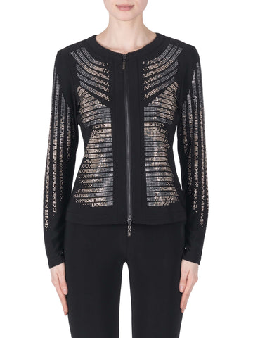 Joseph Ribkoff Black Jersey Zip Front Jacket With Metallic Designs Front