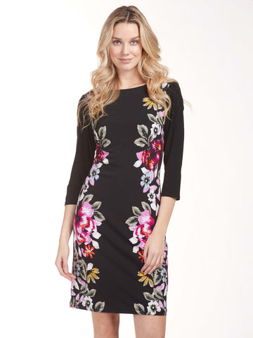 Frank Lyman Black/Magenta Jersey Dress With Floral Print At Sides