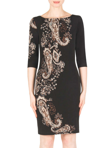 Joseph Ribkoff Black/Beige Long Sleeve Paisley Print Dress