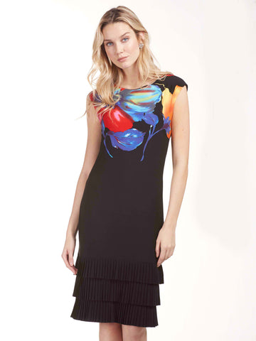 Black/Multi Sleeveless Dress With Floral Print At Neck