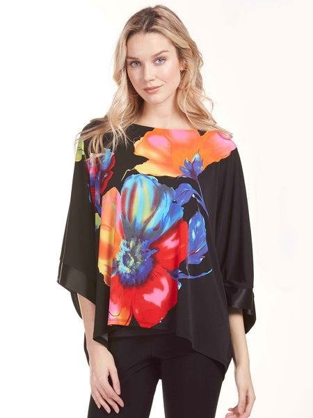 Frank Lyman Black/Multi Top With Large Flower Print On The Front