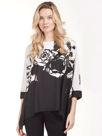 Frank Lyman Black/Ivory Rose Border Print Top