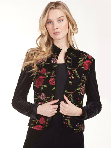 Frank Lyman Black/Red Velvet Embroidered Jacket