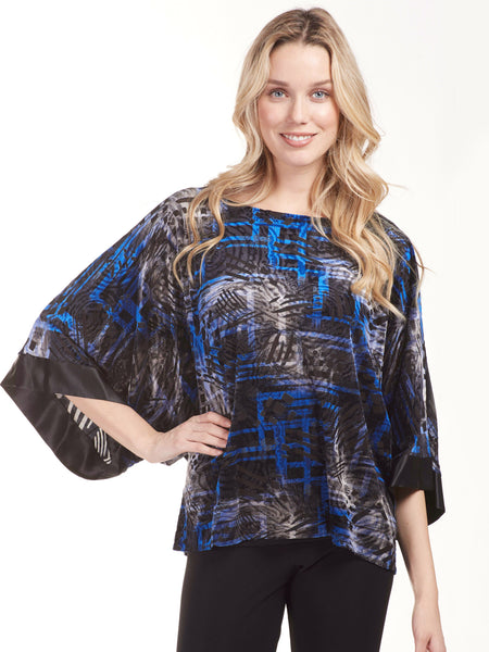 Frank Lyman Royal Flocked Velvet Top With Kimono Sleeves