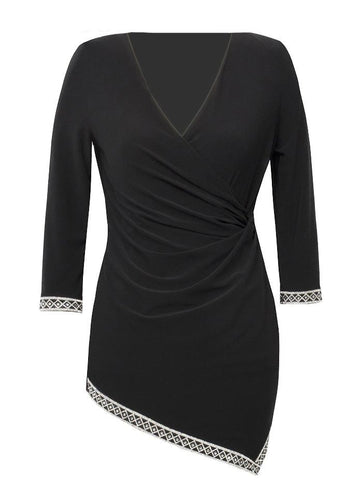 Joseph Ribkoff Black Jersey Tunic With Diamante Cuffs And Hem