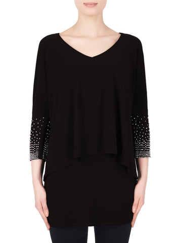 Joseph Ribkoff Black 2 Layer Tunic With Diamante Trim On Cuffs