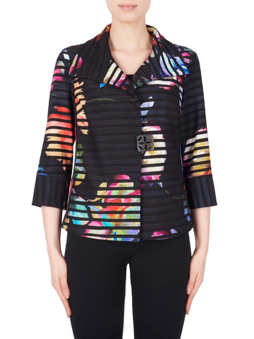 Joseph Ribkoff Black/Multi Self Stripe Jacket With Bright Over Print