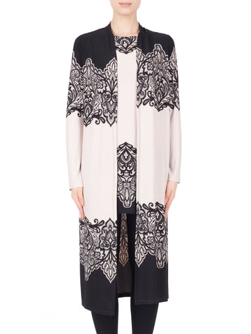 Joseph Ribkoff Black/Beige Longline Jacket And Tunic Border Print Twinset