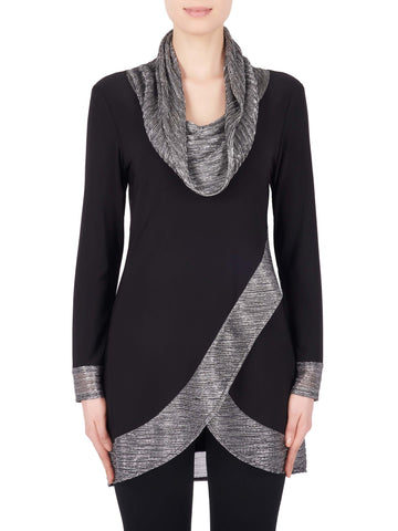 Joseph Ribkoff Black Jersey Tunic Top With Metallic Cowl Neck And Trim