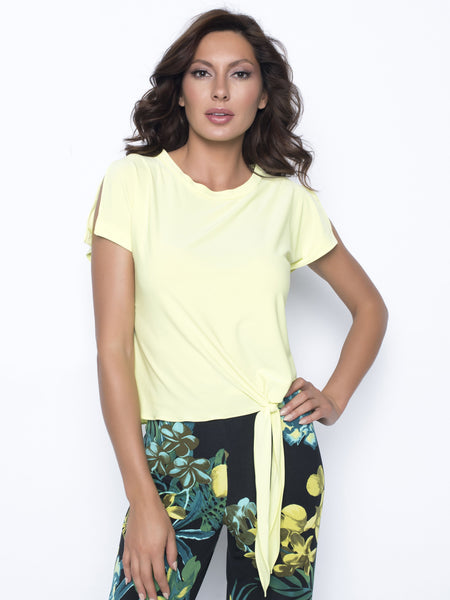Frank Lyman Citrus Tie Front Blouse With Cap Sleeve