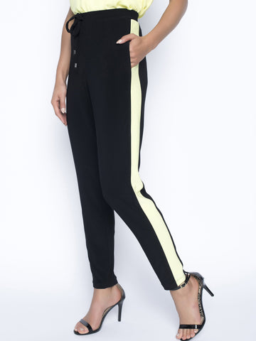 Frank Lyman Blk/Citrus Plain Trouser With Side Stripe