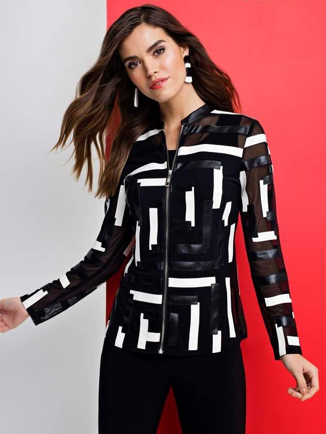 Frank Lyman Blk/White Leather look Zip Front Jacket