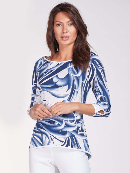 Frank Lyman Navy/White Printed Swirl Design Top