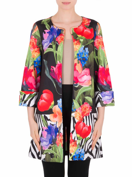 Joseph Ribkoff Bright Flower & Zebra Border Print Edge To Edge Jacket