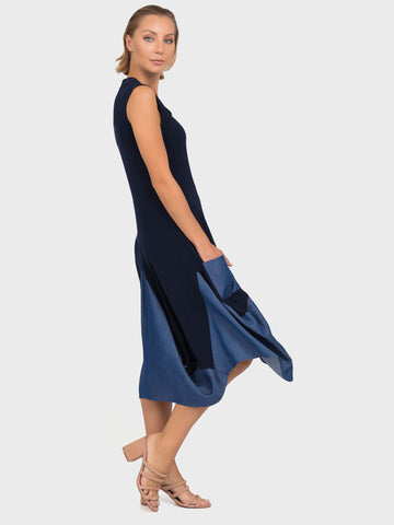 Joseph Ribkoff Navy Denim Trim Jersey Mix Dress