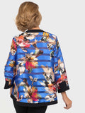 Joseph Ribkoff Bright Blue Flower Asymmetric Jacket