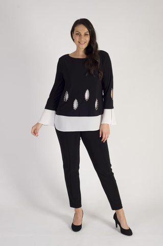 Joseph Ribkoff Black and White Pearl Trim Top