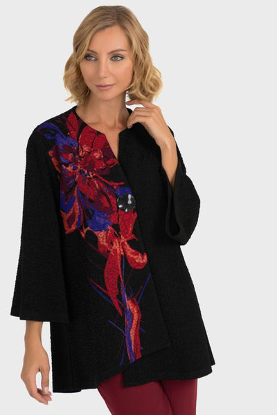Joseph Ribkoff Jersey Black Jacket with asymmetric front print in red and colbalt