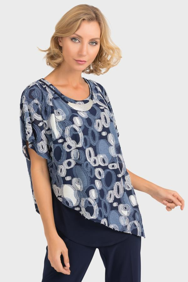 Joseph Ribkoff Navy and Grey Top