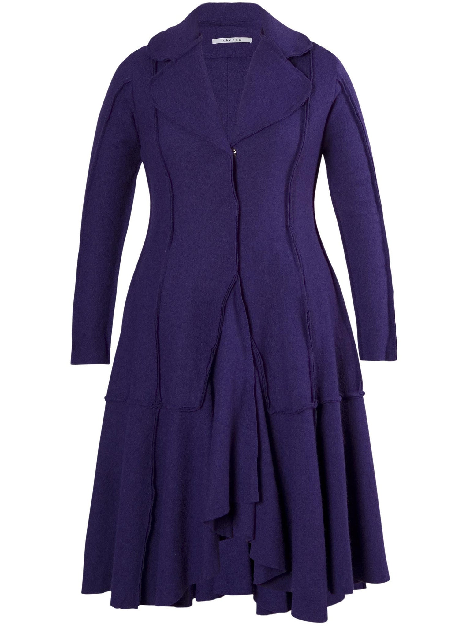 Purple Seamed Flared Coat