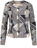GERRY WEBER Blue/Ecru/Pink Patchwork Effect Zip Jacket