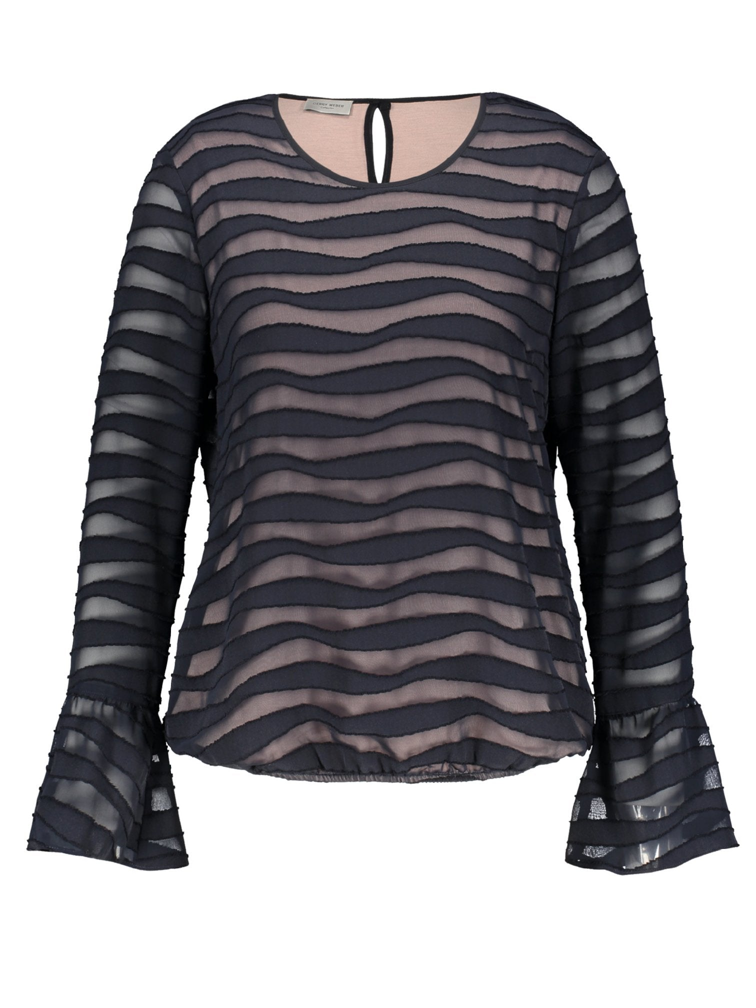 GERRY WEBER Navy Self Stripe Top with Pink Lining