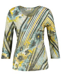 GERRY WEBER Aqua/Yellow Floral and Stripe Printed Top