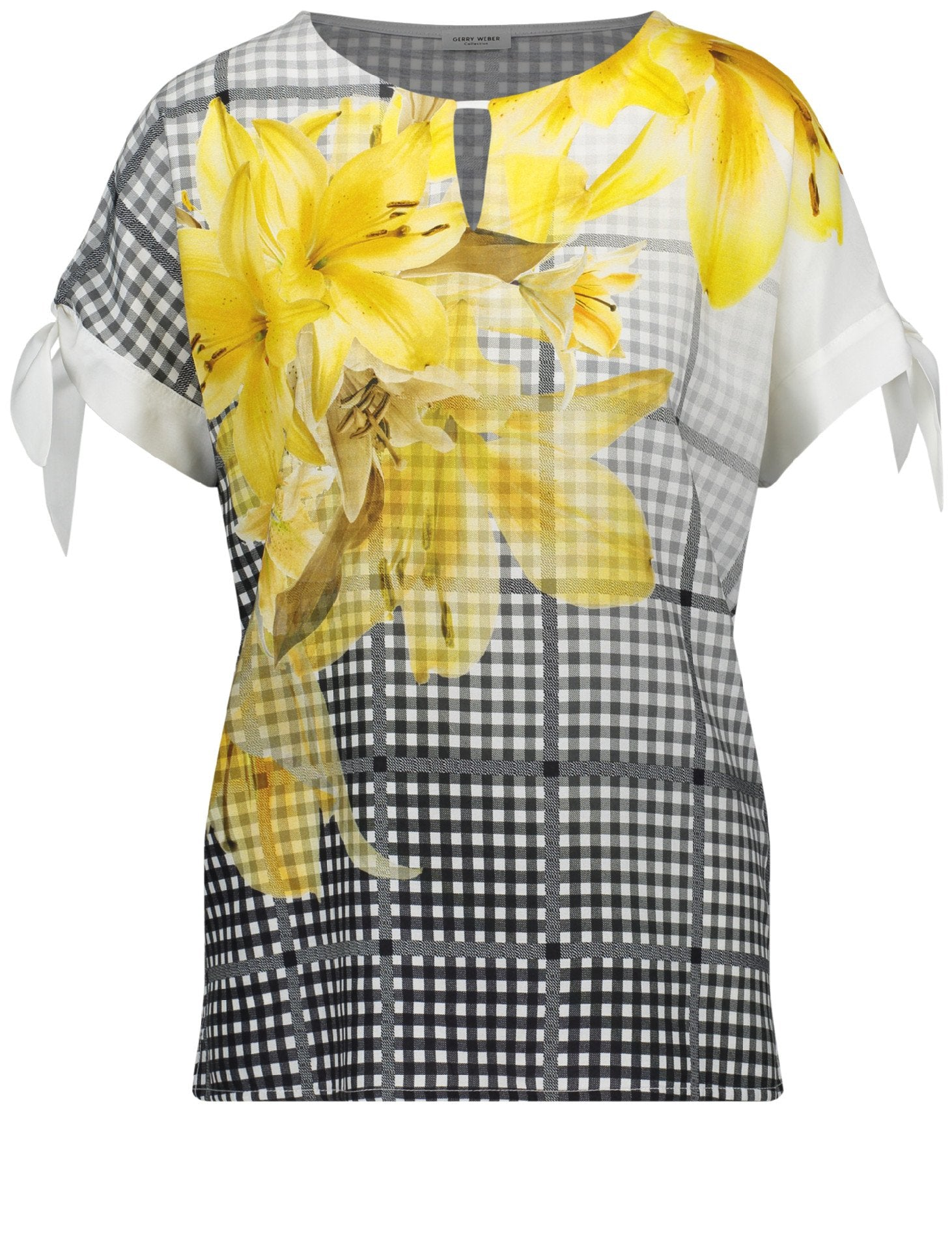 GERRY WEBER Woven/jersey mix check and flower print blouse