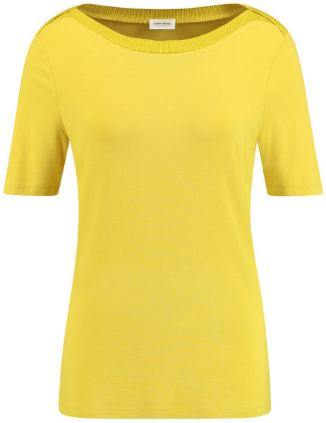 GERRY WEBER Yellow T Shirt Rib Trim
