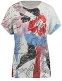 Gerry Weber Ecru/Blue Poppy Print T-Shirt
