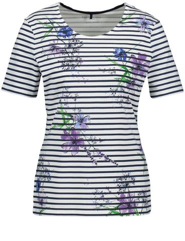 Gerry Weber Blue/Ecru/White Stripe T-Shirt With Flower Print