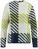 Gerry Weber Navy/Lime/White Check Long Sleeve Jumper